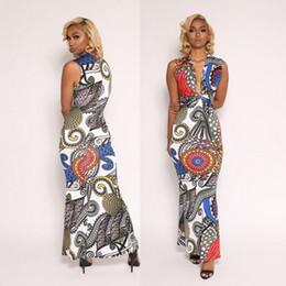 Wholesale Tight Silk Dresses - Woman Summer Fashion Tight V Neck Sleeveless Print Long Dresses Woman Sexy Nightclub Bodycon Dress Woman Pack Hip Milk Silk Dress