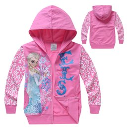 Wholesale Clothes New Generation - Wholesale- Free Shipping new style Foreign trade clothing frozen girls hoodies Hoodie Zip up generation fat children