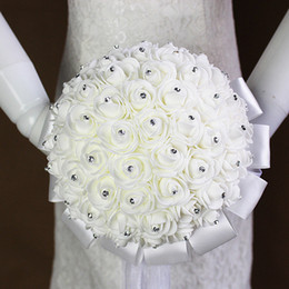 Wholesale Cheap Artificial Flowers Free Shipping - 2017 Cheap In stock Ivory Wedding Bouquets Flower Petals Artificial Wedding Flowers Wedding Supplies Free Shipping CPA818