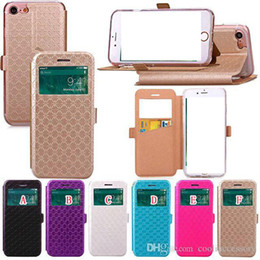 Wholesale Iphone Cases Caller Wallet - Open Window Flip Leather Wallet Pouch Case For Iphone X 8 7 Plus 7plus Huawei P9 Lite Caller ID Display Diamond Stand TPU Card Holder Cover