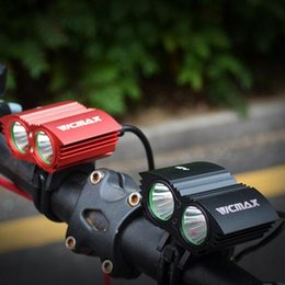 Wholesale Lumen Cycle Lights - Bicycle Front Light LED MTB Mountain Cycling Bike Light Spotlight Lamp A21 5000 Lumen 2x U2 LED Black Red Headlight