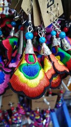 Wholesale Cloth Chandeliers - Art wholesale national wind cloth embroidered earrings 925 needles exaggerated earrings earrings trend