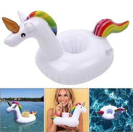 Wholesale Inflatable Drink - Unicorn Inflatable Drink Cup Holder PVC Unicorn Beverage Holders Floating Pool Beach Stand Inflatable Pegasus Floating Pool Drink Holder