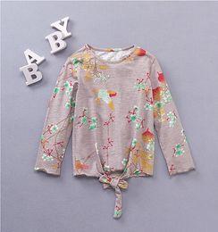 Wholesale Korean Fashion Shirts Blouses - korean children clothing Flower Long Sleeve Girls Tee Shirt Autumn Floral Bird Cotton Children Tops Fashion Bow Kids Blouses C1948
