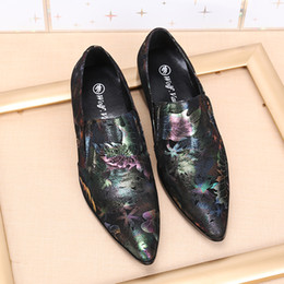 Wholesale Pluse Size Dresses - Pluse Size Men Leather 2017 Shoes New Brand Men Pointed Toe Leather Wedding Dress Leather Shoes Mixed Colors Men Fashion Flats