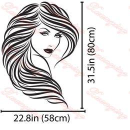 Wholesale Hair Salon Vinyl Wall Decor - Hot Vinyl Wall Stickers Home Decor Hair Beauty Salon Barbershop Sexy Girl Wall Stickers Woman Face Home Deco