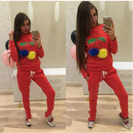 Wholesale Tracksuit For Women Size Xl - Womens Fashion Cherry Autumn Winter Sportswear Suit Red Gray Black Color Hoodies Tracksuit for Women Large Size