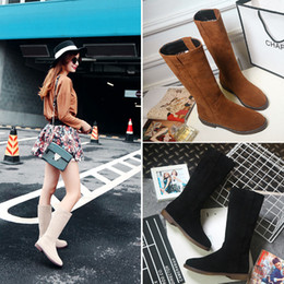 Wholesale Size 33 Heels - Free Shipping Autumn and Winter Boots Flat with Suede Shoe Snow Boots with Scrub Boots Woman Shoes 3 colors eur size 33-42