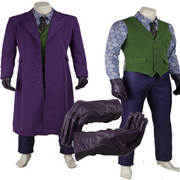 Wholesale Dark Knight Batman Costume - Original The Dark Knight Joker From Batman Cosplay Costume Full Suit Halloween Customized