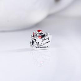 Wholesale Pandora Santa Charm - Sleighing Santa, Translucent Red Enamel Silver Charm Fit Pandora Bracelets Bangles Factory Wholesale