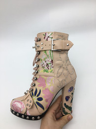 Wholesale Chunky Heel Buckle Boot - Factory Real leather Embroidery Boots Women High Heels Buckle Leather Short Combat Booties