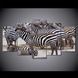 Wholesale Africa Figure - 5 Pcs Set Framed HD Printed Africa Zebra landscape Group Painting room decor print poster picture canvas Free shipping D011