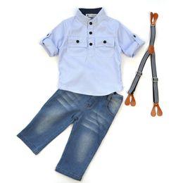 Wholesale Denim Stripe Shirt - Hug Me Boys Plaid Sets Kids Clothing 2017 Spring Fashion Bow Stripe Long Sleeve Cotton Shirt + Denim Overalls 2 Pieces MA-025