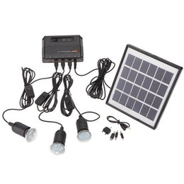 Kit solari del sistema solare online-All'ingrosso- Outdoor Solar Power Panel LED Light Lampada USB Caricabatterie Home System Kit Garden Path