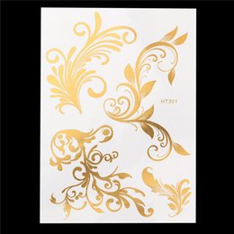 Wholesale Lace Tatoo - Wholesale- 1pc Newly Design Gold Flash Metallic Fake Flower Lace Tatoo Women Hair Body Art HT301 Temporary Tattoo Hair Sticker Decal Design