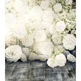 Wholesale Fabric Backdrop Photography - 3D White Roses Romantic Flower Wall Backdrop Wedding Dark Floor Photo Studio Wallpaper Vintage Floral Photography Background Fabric 8x10ft