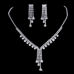 Wholesale Earring Bride Rhinestone Dropping - 2017 upscale bridal jewelry silver plated diamond necklace tassel romantic bride necklace earrings accessories, free shipping.