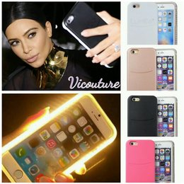 Wholesale Shell Lights - 2016 LED Flash light Case Selfie Phone Back Cover Shell Cases Illuminated For iphone 7 6 6S plus Galaxy S6 S7 Edge