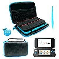 Caso para 2ds online-Kit de protección 3 en 1 para Nintendo 2DS XL - Bolsa de almacenamiento de EVA con lápiz óptico, 2 películas protectoras de pantalla y 8 estuches para tarjetas de juegos de PC