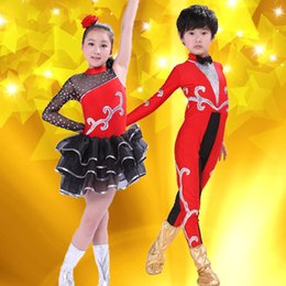 Wholesale Kids Tango Dresses - Hot Sales Girls Dancewear Latin Dance Dress for Girls boys Tights Spanish style Sequins Tango Ballroom Dance Dresses Kids Dress Stage Perfor