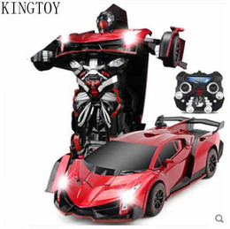 Wholesale Metal Robot Usb - Wholesale- Kingtoy Child USB Charging RC Remote Control Deformed Robot Toy