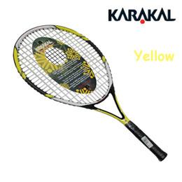 Wholesale Racquet Stringing - Wholesale- High Quality Kar Tennis Racket Kar Tennis Racquets Raquet De Tenis Carbon Aluminum Alloy With Free Tennis String Bag Pink Yellow