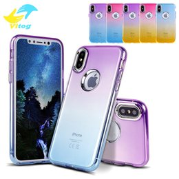 Wholesale Color Cell Phones Cases - Soft TPU Cell Phone Cases With Hard Button Shell Ultra Thin Gradient Color Protective For IPhone X Dirt Resistant Back Covers