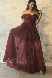Wholesale Transparent Back Lace Prom Dress - Elegant Off the shoulder Cheap Sexy Burgundy Prom Dresses A Line with Appliques Transparent Long Evening Party Gowns