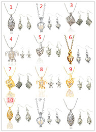 Wholesale Earrings Wishing - Wholesale Set include 1pcs Best Wish Pearl Necklace Pendant And 1Pairs Pearl Drop Earring Jewelry For Women Gift 10 Mix Style