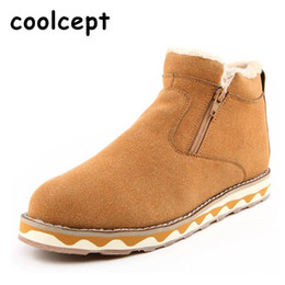 Wholesale Korean Man Shoes Style - Wholesale- Men Snow Boots Winter Long Plush With Fur Keep Warm Zipper Over Ankle Korean Style Suede Breathable Rubber Sole Men Shoes 39-44
