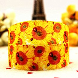 Wholesale Ladybug Ribbon Wholesale - 7 8 (22 mm) 10 yards sunflowers ladybug series Printed grosgrain ribbon bow hair accessories diy bowknot adornment party gifts