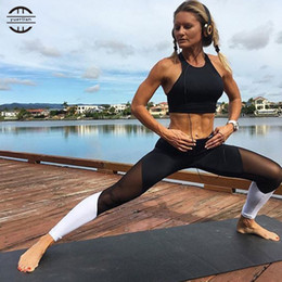 Wholesale Tight Sexy Girl - Wholesale- YEL 2017 Girls Gym Long Yoga Pants Sports Trousers Skinny Jogger Running Pants Fitness Tight Compression Sexy Women Leggings