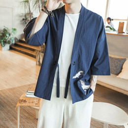 Wholesale Chinese Style Coat Men - 2017 Spring Mens Jacket Chinese Embroidery Loose Casual Open Stitch Jacket Men Cardigan Style 3 4 Sleeve Men Coat Windbreaker