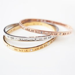 Wholesale 18kgp Bracelets - Hot sale Wholesale design 18KGP fashion roman numbers cuff bracelet with stone women punk cuff bangle stainless steel jewelry free shipping