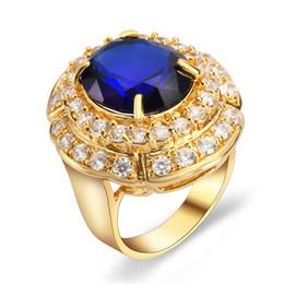 Wholesale British Crown - Men's Gold Crown Rings Diamond Jewelry British Royal William Blue Sapphire Gemstone Bling Jewelry Band Ring 8 9 10 HJZ50253
