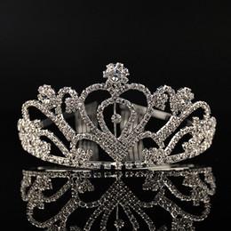 Wholesale Cheap Heads - Luxury Silver Heart Crystals Wedding Tiaras Beaded Bridal Crowns Rhinestone Head Pieces Headband Cheap Hair Accessories Pageant Tiara