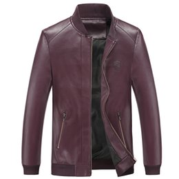 Wholesale Mens Fitted Leather Motorcycle Jacket - Wholesale- M-4XL PU Leather Jacket Men 2017 New Brand Black Brown Solid Mens Jacket and Coats Trendy Slim Fit Motorcycle Jacket Male Plus