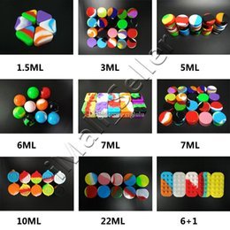 Wholesale Large Square Boxes - Wax Containers Silicone Jars 6+1 Large Mini Lego Dab Silicone Box Storage 1.5ML 3ML 5ML 6ML 7ML 10ML 22ML Round Trangile Square