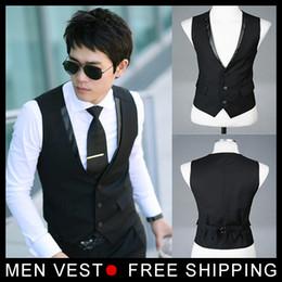 Wholesale Business Dress Suit Men - Wholesale- Men's Suit Formal Vest Casual Vest Slim Fit Luxury business Dress Waistcoat Vest for men with 3 buttons M-XXXL Free shipping