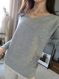 Wholesale soft warm clothes - Women's Clothing Sweaters Warm Soft cashmere sweater fashion sexy v-neck loose wool sweater batwing sleeve plus size S-4XL pullover Fre