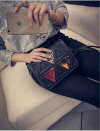 Wholesale Triangular Shoulder Bag - Wholesale- Triangular Splice Women Messenger Bags PU Leather Fashion Women Handbags Women Shoulder Crossbody Bags 6 Colors Big Promotion
