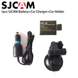 Wholesale li battery car - Wholesale- SJCAM 3.7V Li-ion Rechargable Battery Car Charger Suction cup bracket Holder For SJCAM SJ4000 SJ5000 M10 SJ5000X Sports Camera