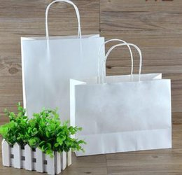 Wholesale Custom Printed Paper Bags Wholesale - Wholesale- ROCOHANTI 100PCS White Kraft Paper Bags Top Quality Paper Shopping Bags Custom Printed Your LOGO