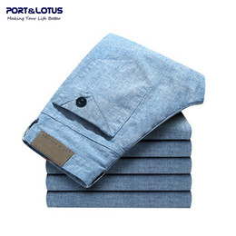 Wholesale Fly Port - Wholesale-Port&Lotus Men Pants Linen Casual Mid Waistline Size 28 to 46 Trousers 022 For Men Clothing wholesale