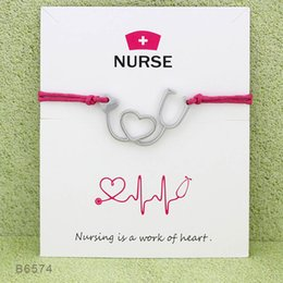 Wholesale Wholesale Nurse Set - Wish Bracelet With Gift Card Heart Stethoscope Nurse Charm Bracelets & Bangles for Women Girls Adjustable Friendship Statement Jewelry