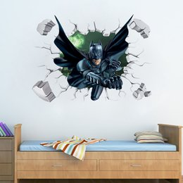 Wholesale Bedroom Design Blue - 3D Effect Super Hero Batman Breaking Wall Stickers Baby Kids Bedroom Decorative Wall Sticker Decal Gift
