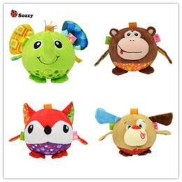 Wholesale Monkey Baby Rattle - Sozzy baby Soft Stuffed Plush Animal elephant monkey bed Rattles bell cloth ball Early Education Developmental toy 40%off