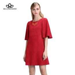 Wholesale Bella Green Dress - Wholesale- Bella Philosophy 2017 spring autumn Lotus butterfly sleeve dress zip double side faux suede dark green red women dress