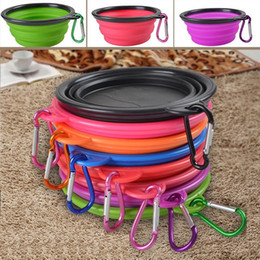 Wholesale Dog Portable Water - Silicone Folding Dog Feeding Bowl Collapsible Cats Water Dish Cat Portable Feeder Puppy Travel Bowls 8 Colors F201784