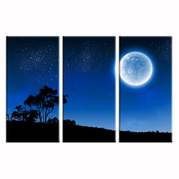 Wholesale Picture Full Moon - Full Moon Scenery HD Photo Canvas Printing Canvas Wall Decor Nature Landscape Canvas Art Print(30cmx60cmx3)